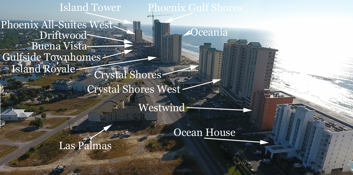 Aerial view to the East from Ocean House in Gulf Shores