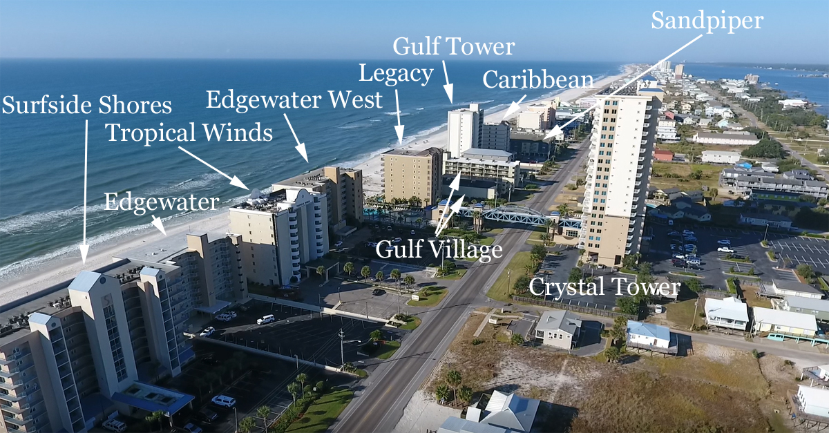 Aerial image of West Beach in Gulf Shores with labeled condo location